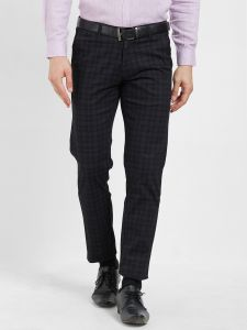 Solemio Men's Wear - Solemio Black Cotton Lycra Checks Chinos For Mens  (Code - S19CH1004EBL)