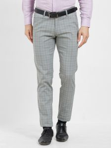 Solemio,Gwalior Suitings Men's Wear - Solemio Grey Cotton Lycra Checks Chinos For Mens  (Code - S19CH1004EGR)