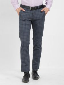 Solemio Grey Cotton Lycra Checks Chinos For Mens (code - S19ch1004env)