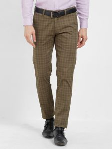 Solemio Brown Cotton Lycra Checks Chinos For Mens (code - S19ch1004eol)