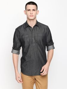 solemio Kurtas (Men's) - Solemio Black Cotton Solid Short Kurta For Mens (Code - S19KU1001EBL)