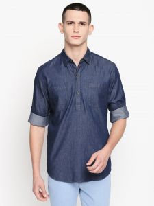 solemio Ethnic Wear (Men's) - Solemio Blue Cotton Solid Short Kurta For Mens (Code - S19KU1001EBU)