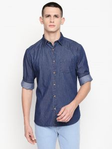 Solemio Blue Cotton Denim Shirt For Mens (code - S19sh1012env)