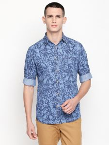 Solemio Men's Wear - Solemio Blue Printed Cotton Shirt For Mens  (Code - S19SH1013ENV)