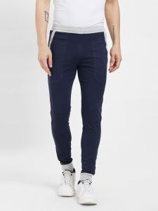 Fitz Poly Cotton Slim Fit Navy Blue Joggers For Mens (code - S19tc3018env)