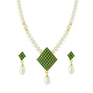 Jagdamba Jewellery - JPEARLS SINGLE LINE GREEN STONES PEARL SET