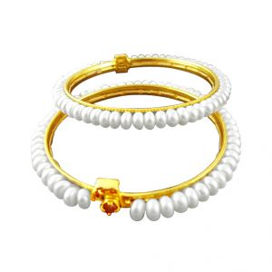 Jpearls Women's Clothing - JPearls White Pearl Bangles