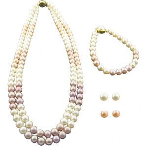 Jpearls 2 Line Round Pink & White Pearl Necklace