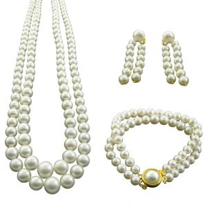 Jagdamba 2 Line Graded Pearl Set