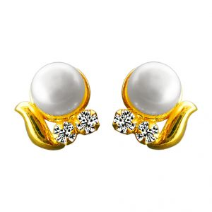 Triveni,Tng,Bagforever,Jagdamba,Mahi,Ag,Sangini,Surat Diamonds Pearl Earrings - jpearls cz button pearl tops