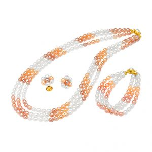 Jpearls 3 Line Oval Combination Necklace