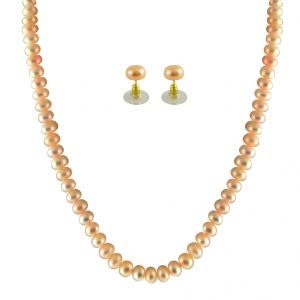 Jagdamba Jewellery - JPEARLS SINGLE LINE PEACH PEARL SET