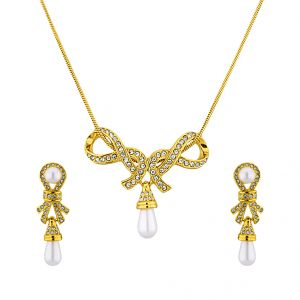 Sri Jagdamba Pearls Graceful Cz Pendant Set Code 5278cnker