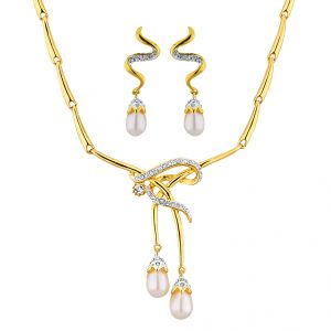 Triveni,Tng,Jagdamba,Surat Diamonds Pearl Pendants - Sri Jagdamba Pearls  CZ Double Drop Pendant Set    Code 6441