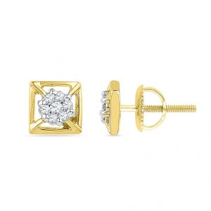 Jagdamba,Kalazone,Flora,Arpera Diamond Jewellery - 18 KT Gold Shimmer Diamond Earrings