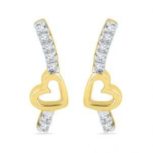 Jpearls 18kt Sweet Heart Diamond Earrings