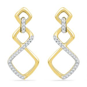 Jpearls 18 Kt Gold Classy Diva Diamond Earrings