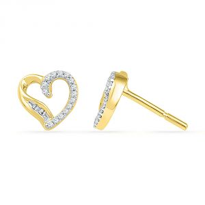 Jpearls 18 Kt Gold Candy Heart Diamond Earrings