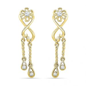 Jagdamba,Clovia,Sukkhi,Estoss Women's Clothing - Sri Jagdamba Pearls 18 KT Gold Love Forever Diamond Earrings Code EF019438
