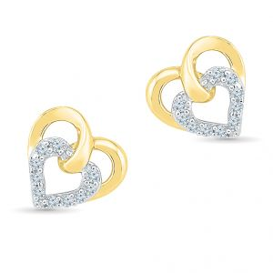 Sri Jagdamba Pearls Dual Heart Diamond Earring-ef022001