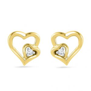 Jpearls 18kt Diamond Heart In Heart Earring