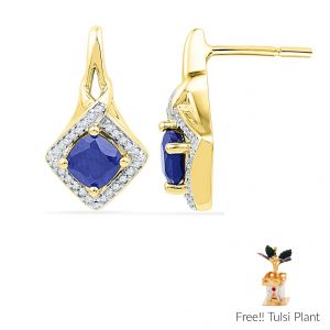 Sri Jagdamba Pearls Blue Sapphire Diamond Earrings(code Ef100963-lbs-ssd)