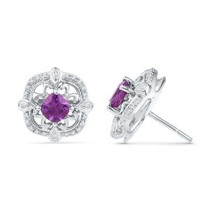 Amethyst With Sterling Silver Diamond Earrings Code-ef101055-am-ss