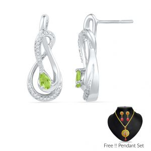 Sri Jagdamba Pearls Peridot Diamond Earrings(code Ef101069-pr-ssd)