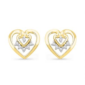 Jpearls 18 Kt Gold Love Forever Diamond Earrings