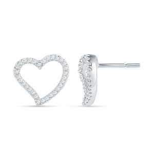 Jpearls 925 Sterling Silver Heart Shaped Diamond Earrings