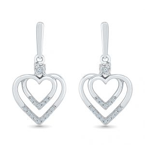 Sri Jagdamba Pearls 0.16 Carat Heart In Heart Diamond Earrings-eh076055