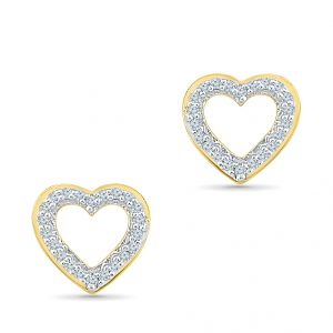 Jagdamba,Clovia Diamond Jewellery - Sri Jagdamba Pearls  Heart Diamond Earrings-EH200482
