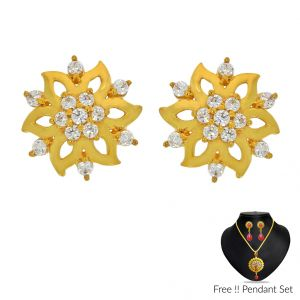 Jagdamba,Avsar,Lime,Flora Gold Jewellery - Sri Jagdamba Pearls 22Kt (916) Cz Gold Earrings(Code ER-2309)