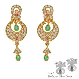 Sri Jagdamba Pearls Grandiose 22kt Gold Earrings(code Er-2331)