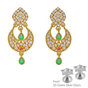 Jagdamba,Jpearls Jewellery - Sri Jagdamba Pearls Awefull 22Kt Gold Earrings(Code ER-2333)