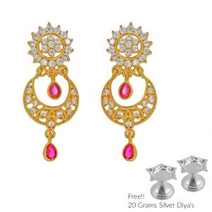 Sri Jagdamba Pearls Twinkling 22kt Gold Earrings(code Er-2336)