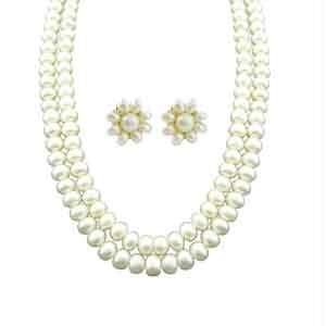 triveni,pick pocket,platinum,jpearls,fasense Pearl Necklaces - JPEARLS NEW TWO LINE PEARL NECKALCE