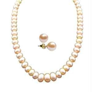 Jpearls New Single Line Peach Pearl Necklace
