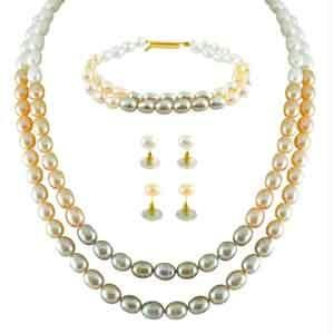 Jpearls New Multi Color Dual Line Pearl Set