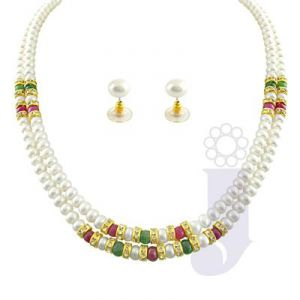 Jpearls Cz Ruby Pearl Necklace