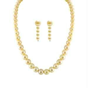 triveni,lime,flora,clovia,jpearls,sleeping story Pearl Jewellery Sets - JPEARLS SINGLE LINE PEACH PEARL CLASSIC SET