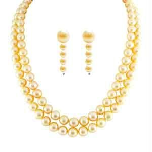 triveni,pick pocket,jpearls,cloe,sleeping story,diya,port,motorola Pearl Necklaces - JPEARLS DOUBLELINE PEACH PEARL CLASSIC SET