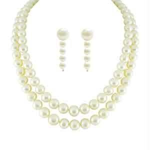 jagdamba,clovia,mahi,see more Pearl Jewellery Sets - JPEARLS NEW DUAL LINE CLASSIC PEARL NECKLACE