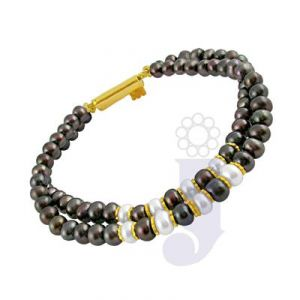 Jpearls Two Row Black Pearl Bracelet