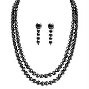 Jpearls Two Line Black Pearl Set