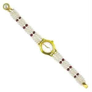 Jpearls Three String Red Stone Pearl Watch
