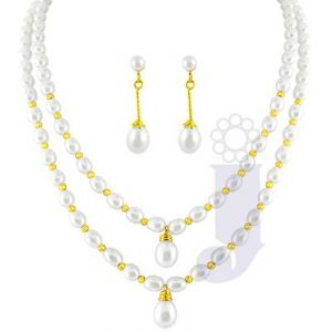 Jpearls Double String Oval Pearl Set