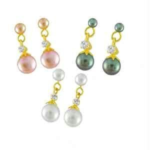 Jpearls Set Of Three Pair Pearl Ear Hangings Comb