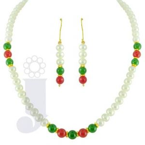 Jpearls Single Line Green And Red Pearl Set