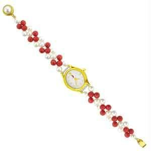 Jpearls Cz Two String Coral Pearl Watch